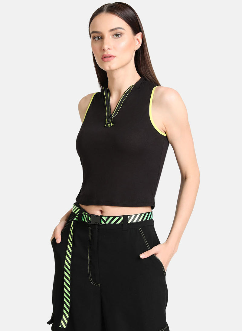 Crop Top With A Zipper And Neon Trims