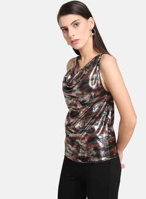 Camo Sequin Cowl Top