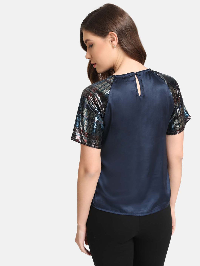Boxy Fit Raglan Sleeve Sequin Top (Additional 20% OFF)