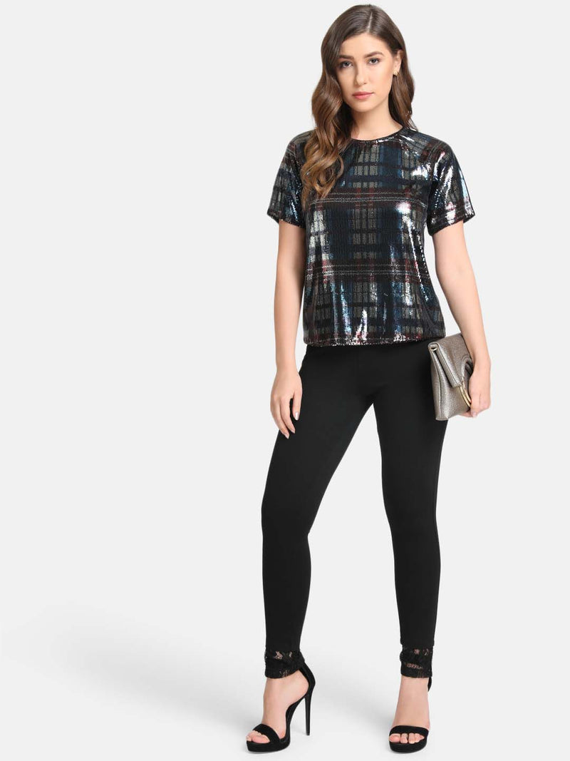 Boxy Fit Raglan Sleeve Sequin Top