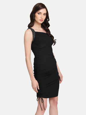 One Shoulder Ruched Mini Dress With Embellishment