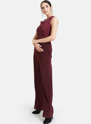 Cowl Neck Jumpsuit With Lace At Back