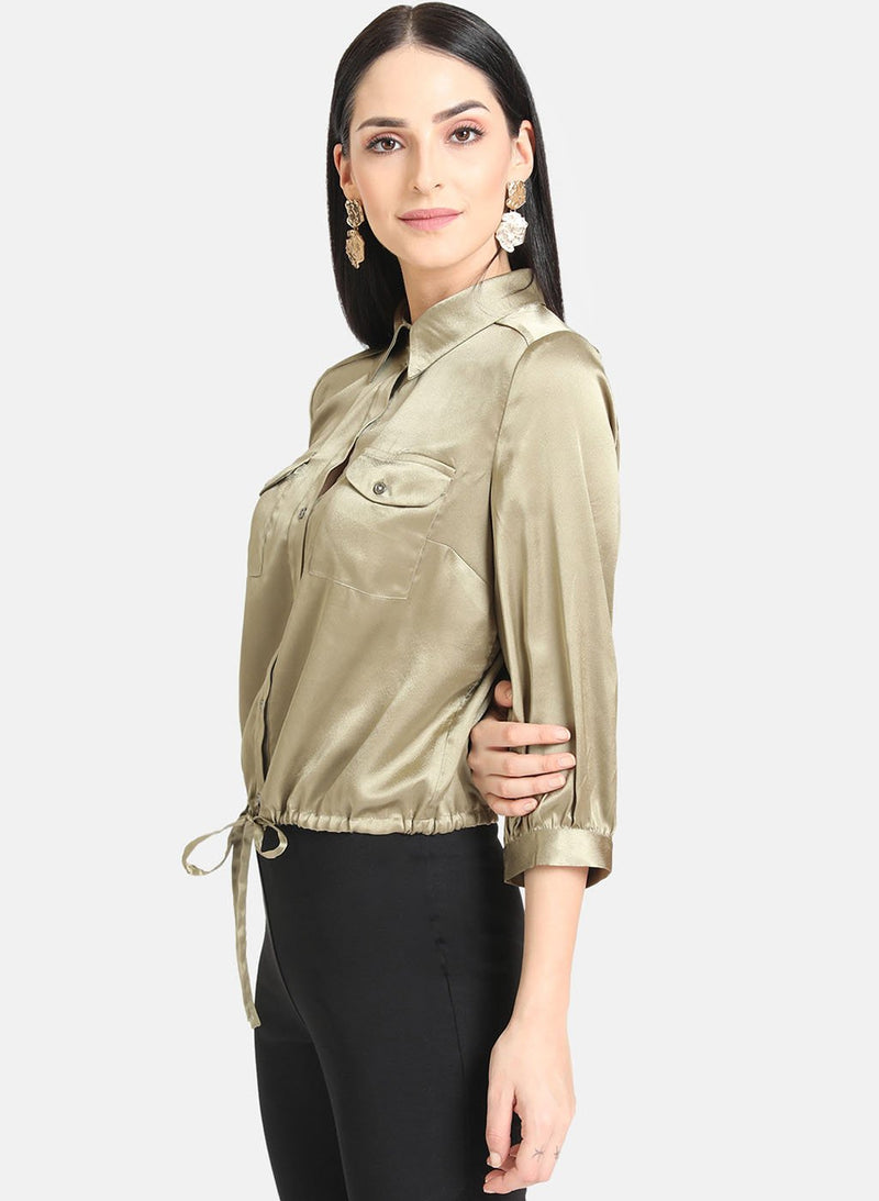 Satin Shirt With Classic Collar (Additional 20% OFF)