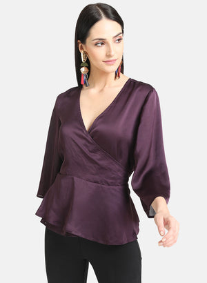 Satin Wrap Top