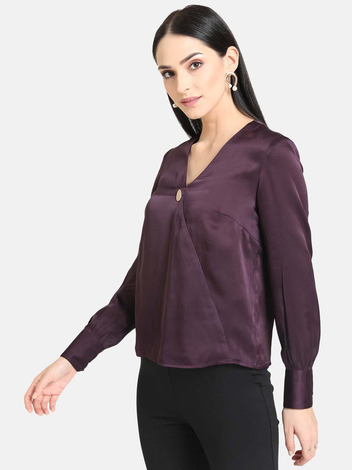 Detailed Button Solid Satin Shirt (Additional 20% OFF)