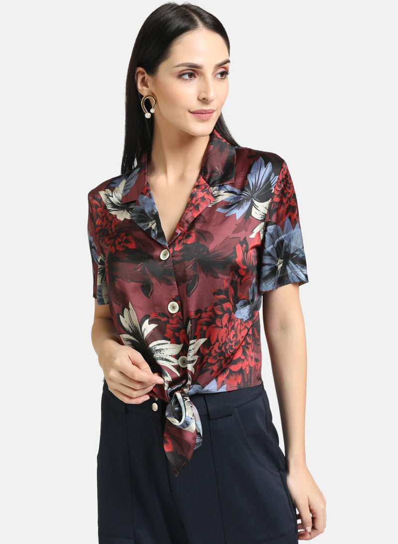 Tie-Knot Satin Crop Shirt