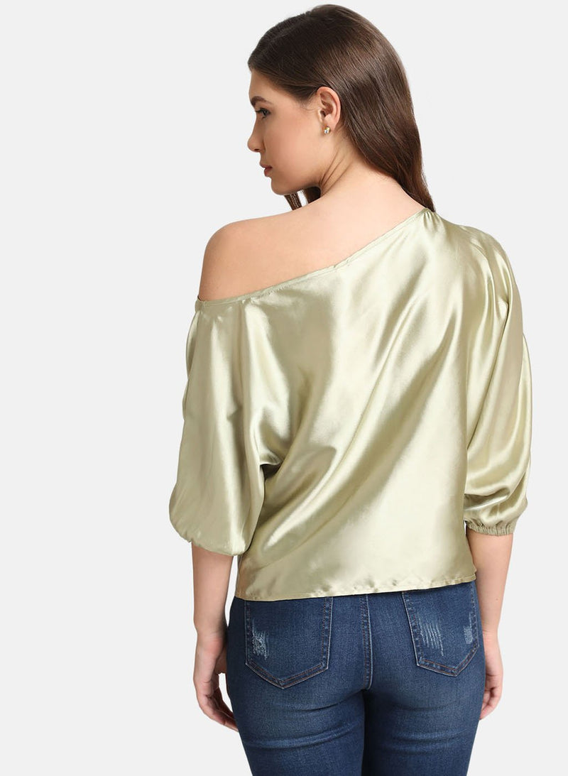 Satin Bat Wing Sleeve Top