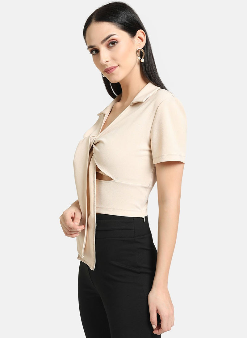 Self-Tie Collar Top