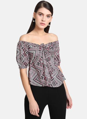 Printed Off Shoulder Top (Additional 20% OFF)