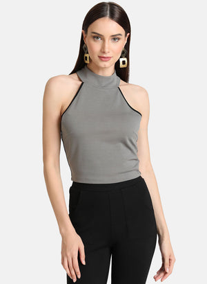Jersey Halter-Neck Crop Top