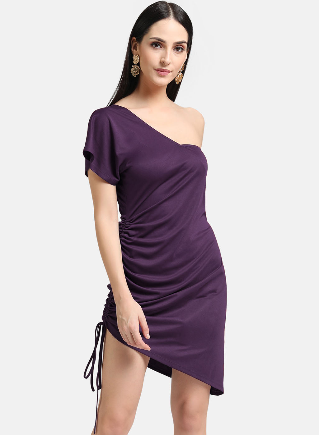 One Shoulder Ruched Dress (Additional 20% OFF)
