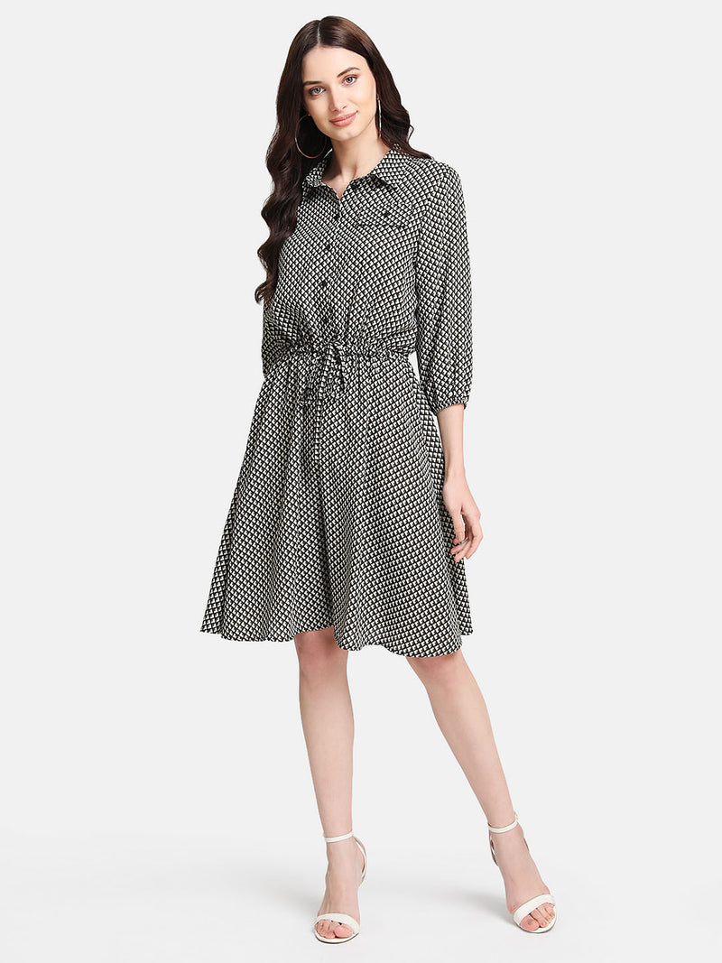 Geometric Print Shirt Dress With Tie-Up