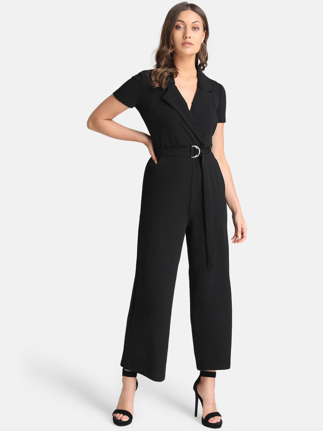 Front Overlap Detail Jumpsuit With Belt At Waist