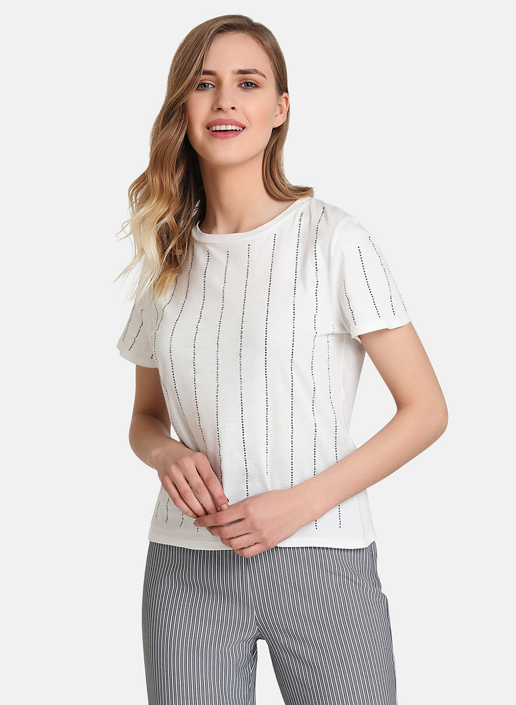 Embellished Stripe Detail T-Shirt