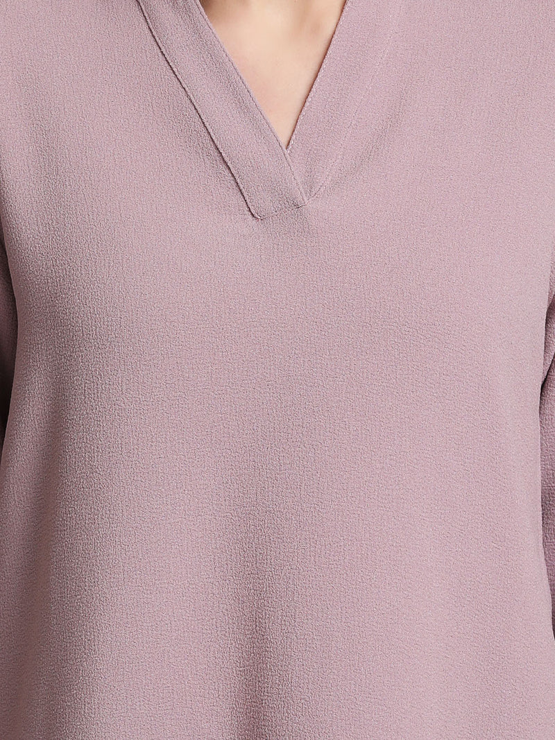 V-Neck Top With Turn-Up Sleeves