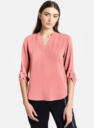 V-Neck Top With Turn-Up Sleeves(Additional 20% on 2)