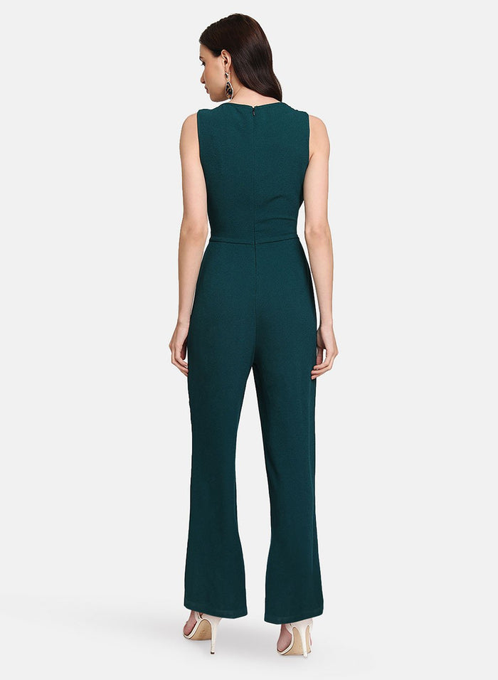 Sleeveless Jumpsuit With Tie-Up At Waist