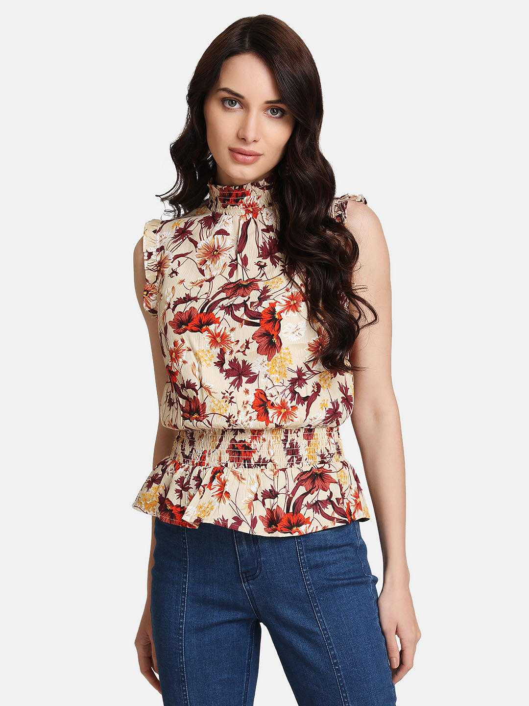 Floral Printed Ruffle Detail Top (Additional 20% OFF)