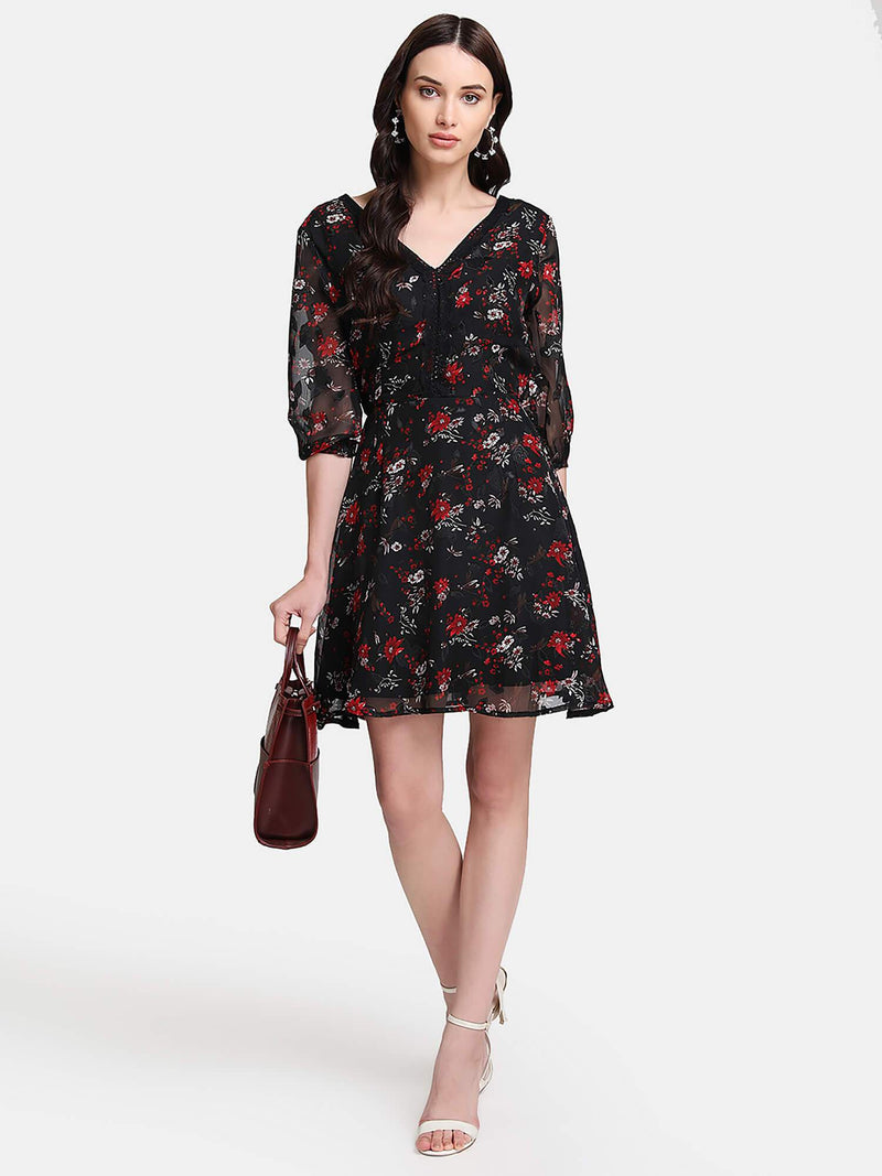Floral Print Jacquard Mini Dress (Additional 20% OFF)