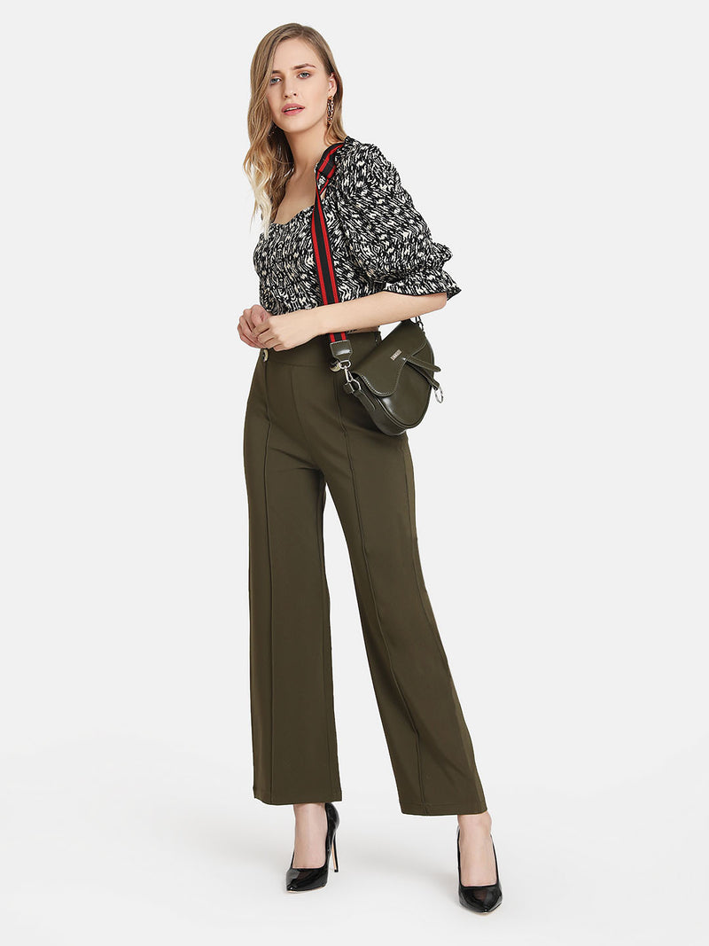 Flared Trouser With Buttons And Pintuck Detail
