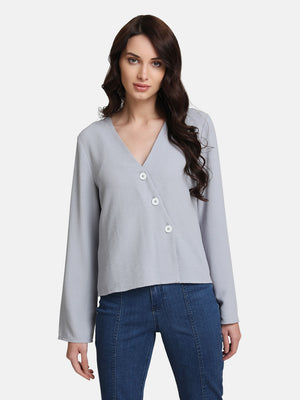 V-Neck Top With Diagonal Placket (Additional 23% OFF)