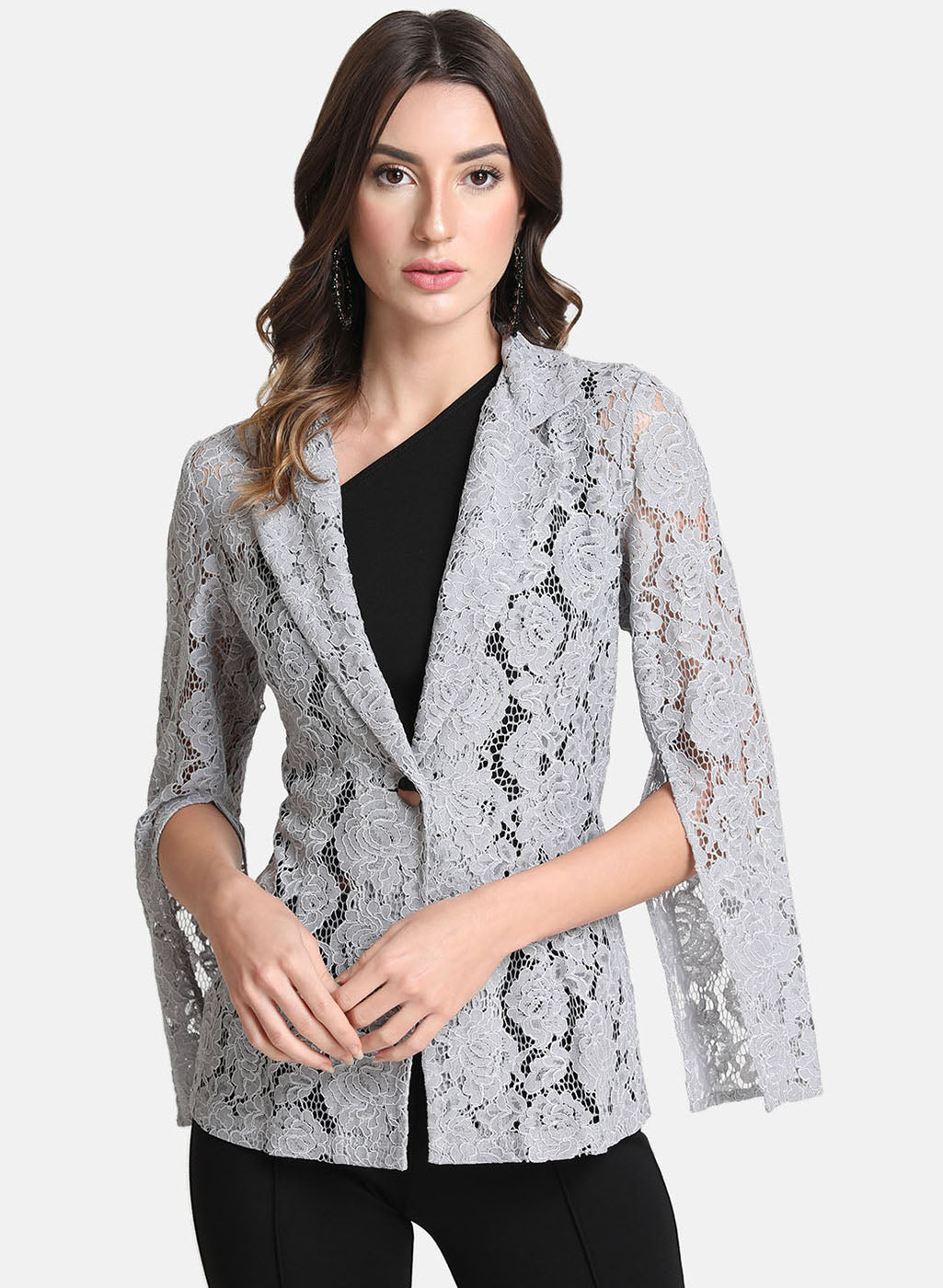 Embossed Lace Blazer With Flared Sleeves