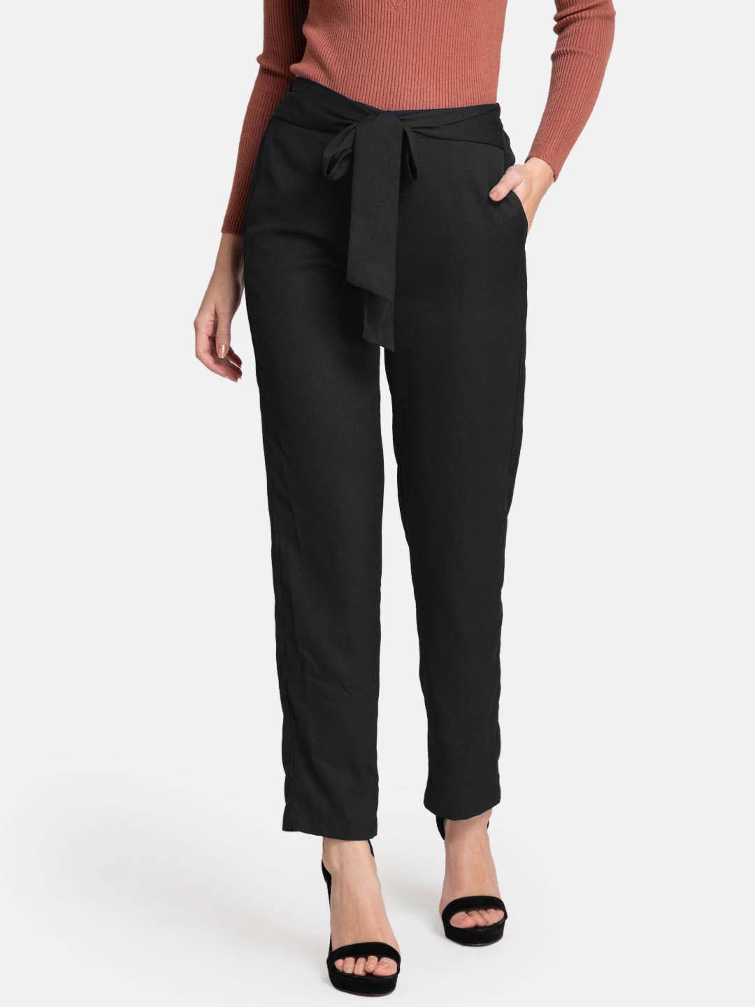 Straight Fit Trousers With Self-Tie