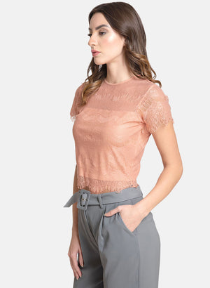 Lace Top With Scallop Edges
