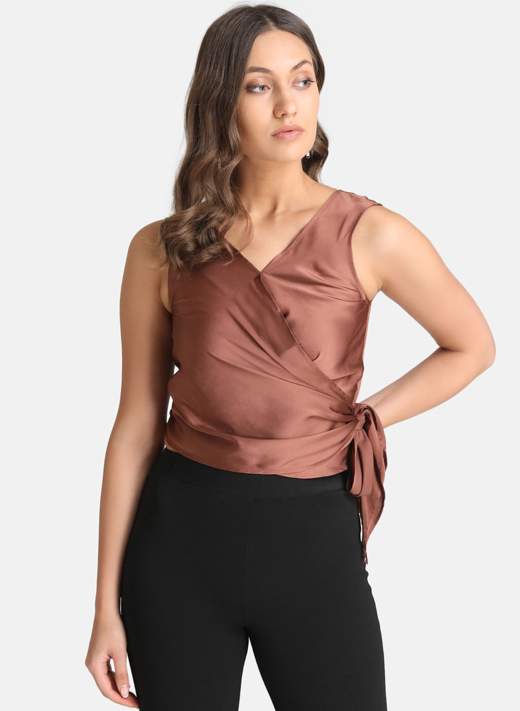 Satin Wrap Top (Additional 20% OFF)