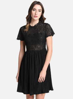 Dress With Lace Bodice And Pleated Bottom(Additional 20% on 2)