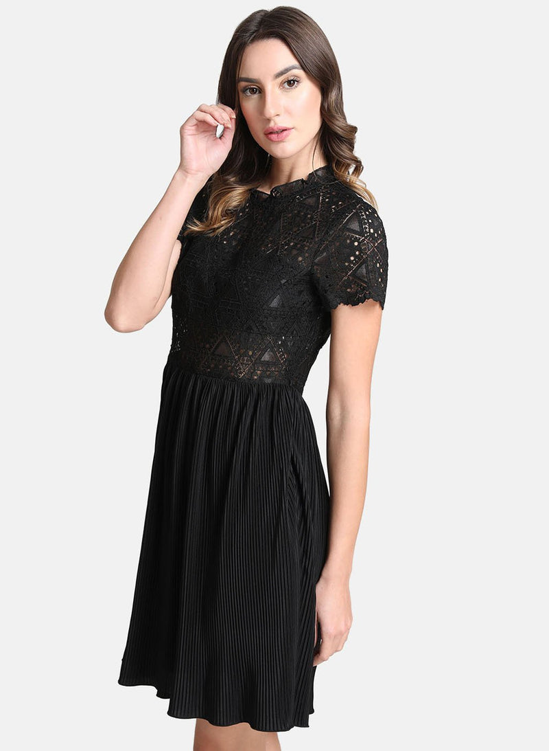 Dress With Lace Bodice And Pleated Bottom