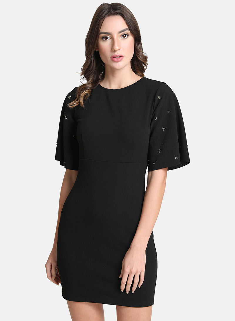 Embellished Bodycon Dress With Flared Sleeves (Additional 20% OFF)