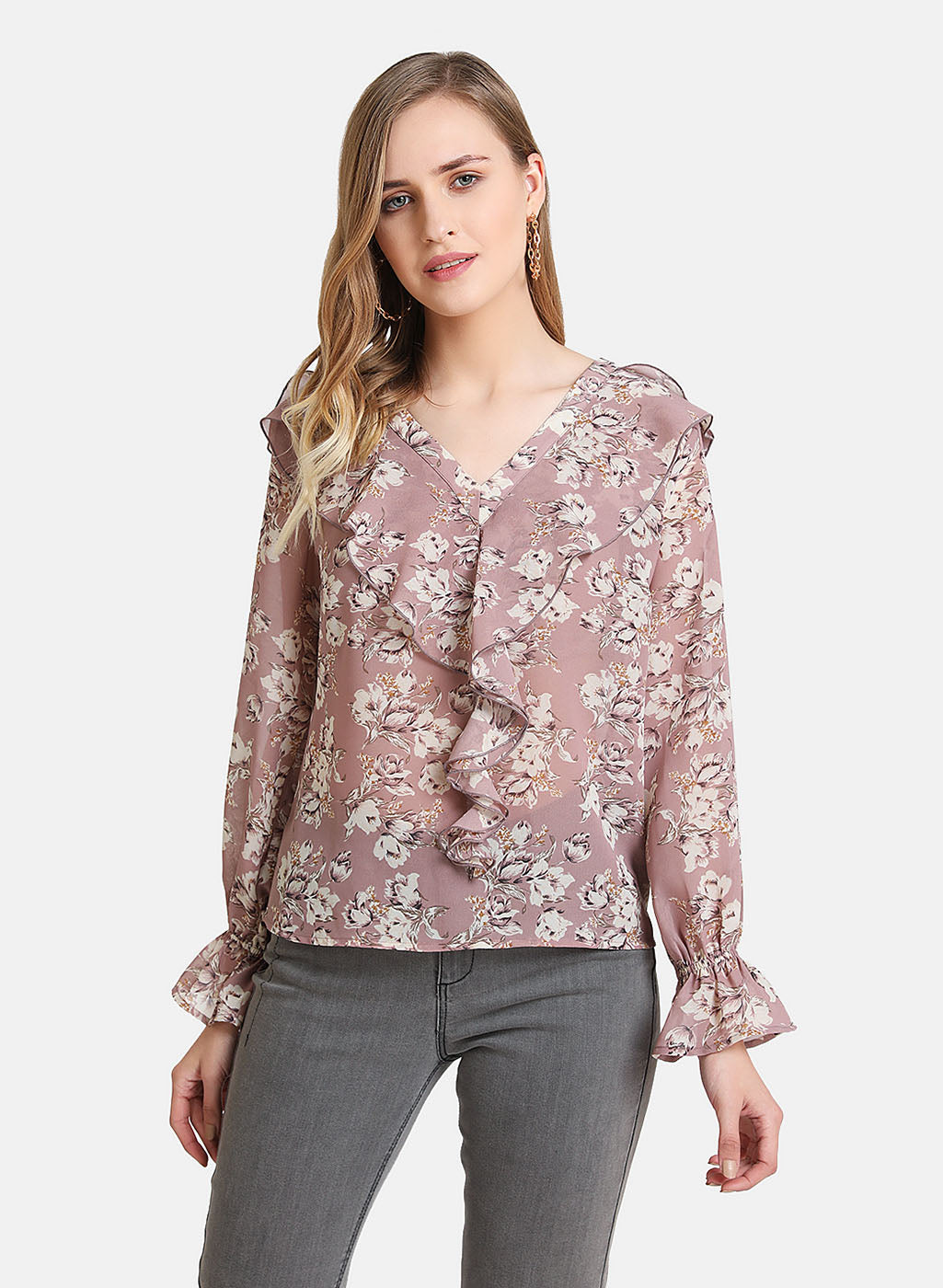 Ruffle Overlay Floral Printed Top (Additional 23% OFF)