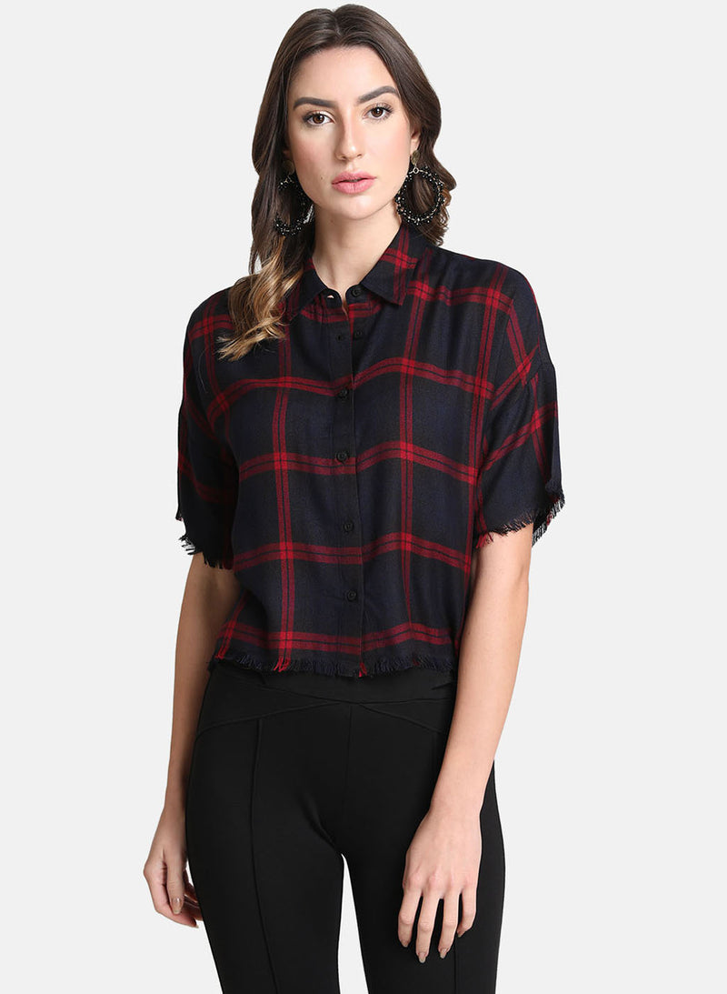 Boxy Shirt Collar With Fringes Detail