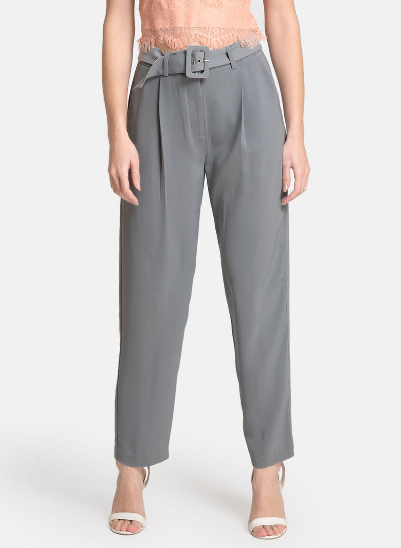 Trousers With A Self Belt And Buckle