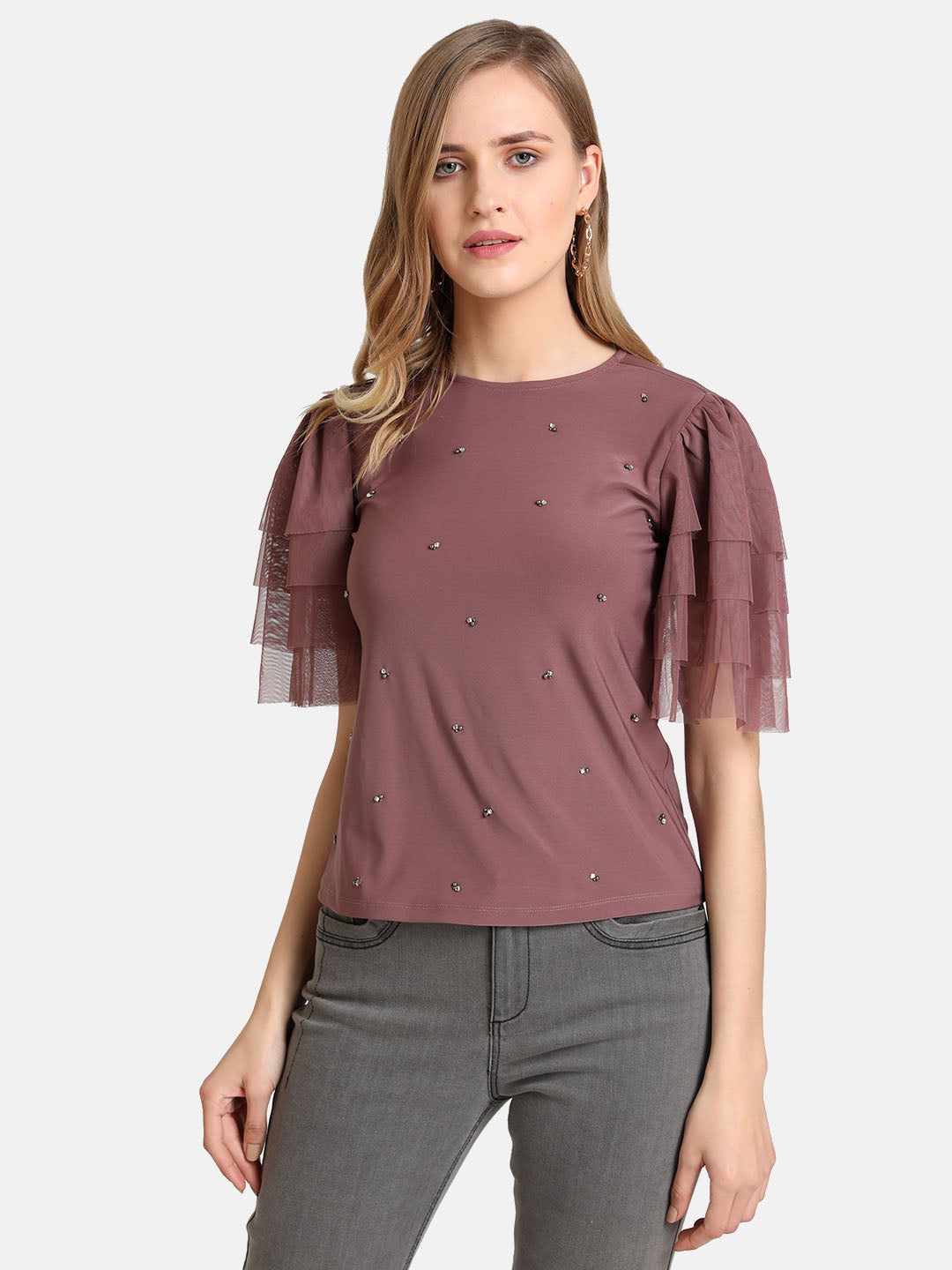 Tiered Sleeves Top With Embellishment