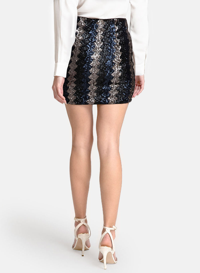 Stretchable Sequin Fitted  Skirt