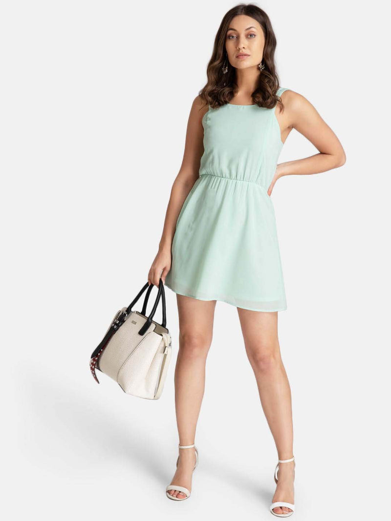 Solid Smocked Mini Dress