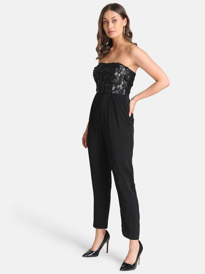 Off-Shoulder Sequin Jumpsuit
