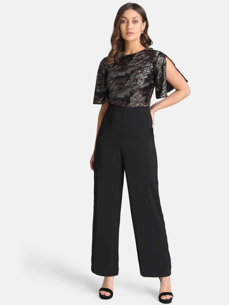 Animal Print Pattern Sequin Jumpsuit