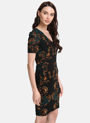 Scarf Print Stretchable Midi Dress (Additional 20% OFF)