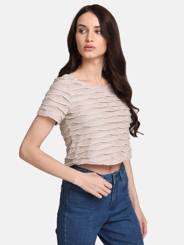 Scallop Detail Stretchable Crop Top