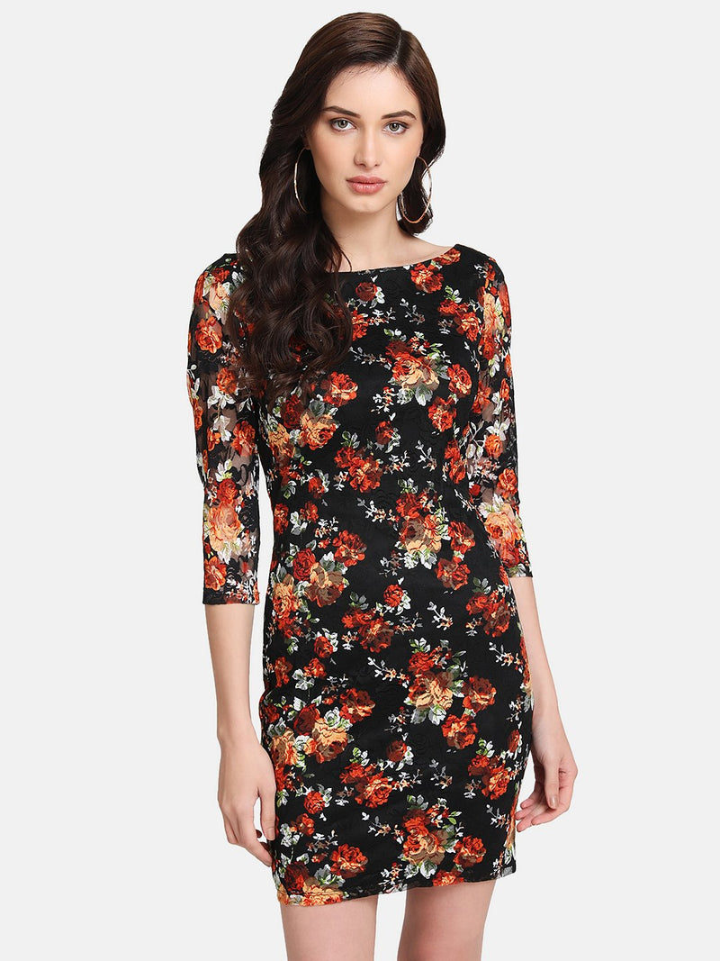 Printed Floral Lace Mini Dress
