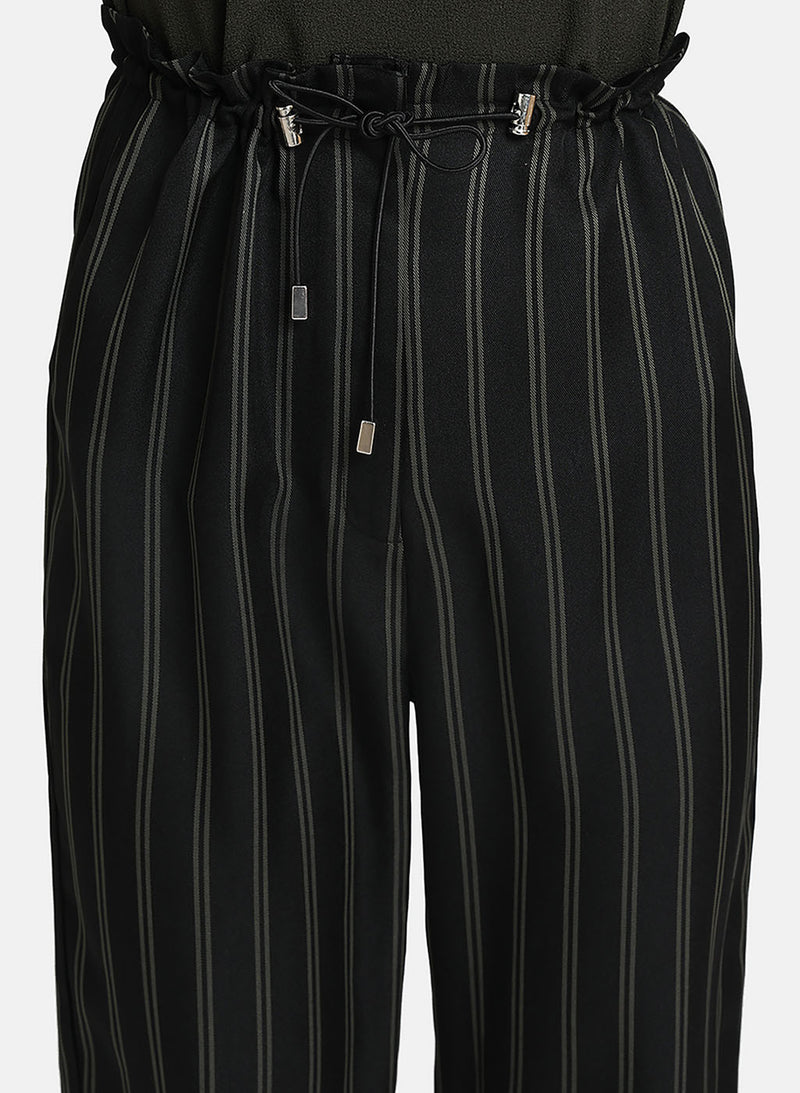 Printed Stripe Culottes With Elasticated Tie-Up