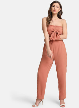 Off-Shoulder Jumpsuit With Self-Tie (Additional 20% OFF)