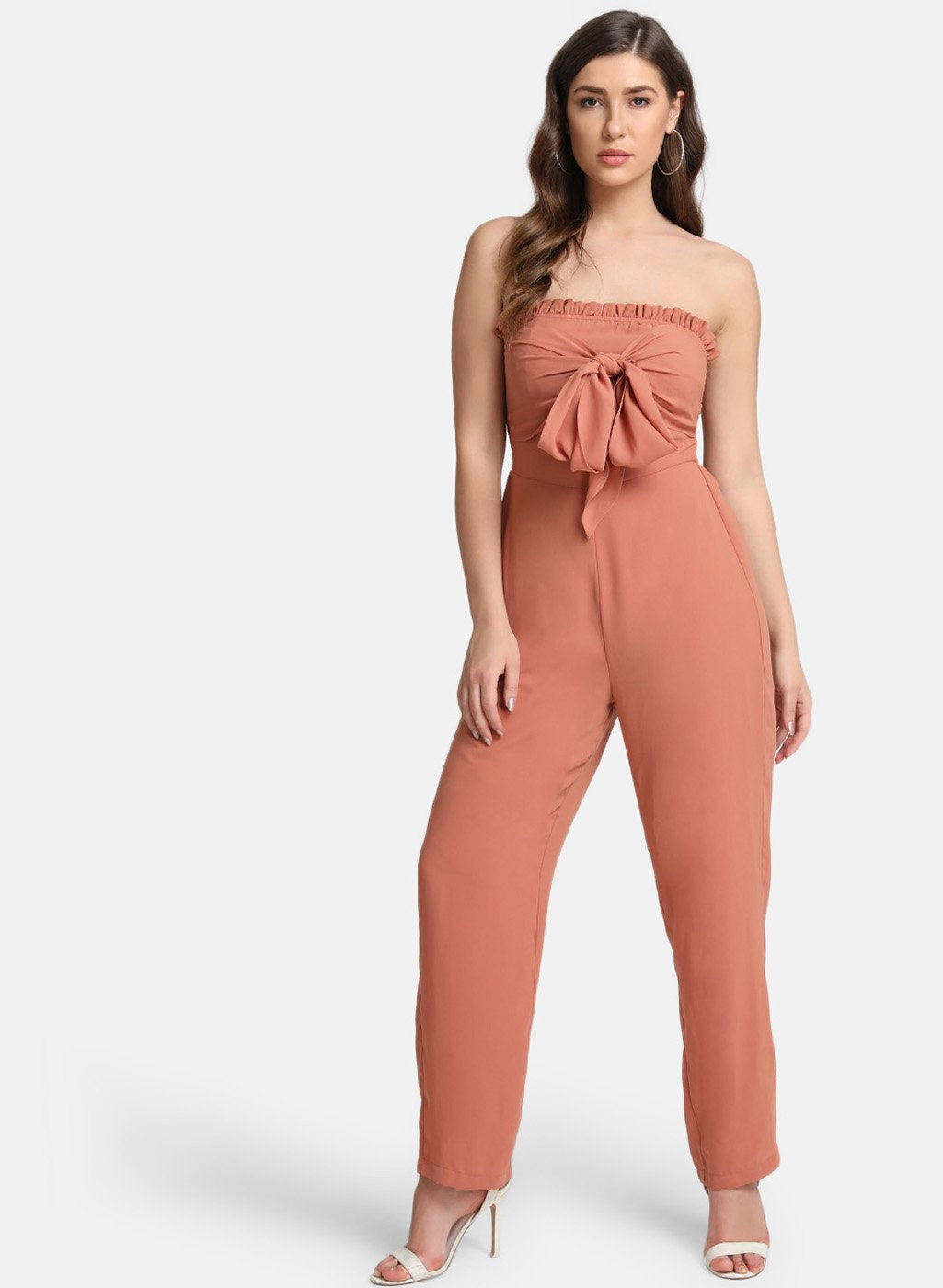 Off-Shoulder Jumpsuit With Self-Tie