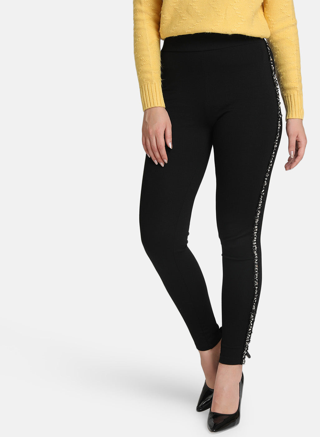 High Waist Embellished Jeggings