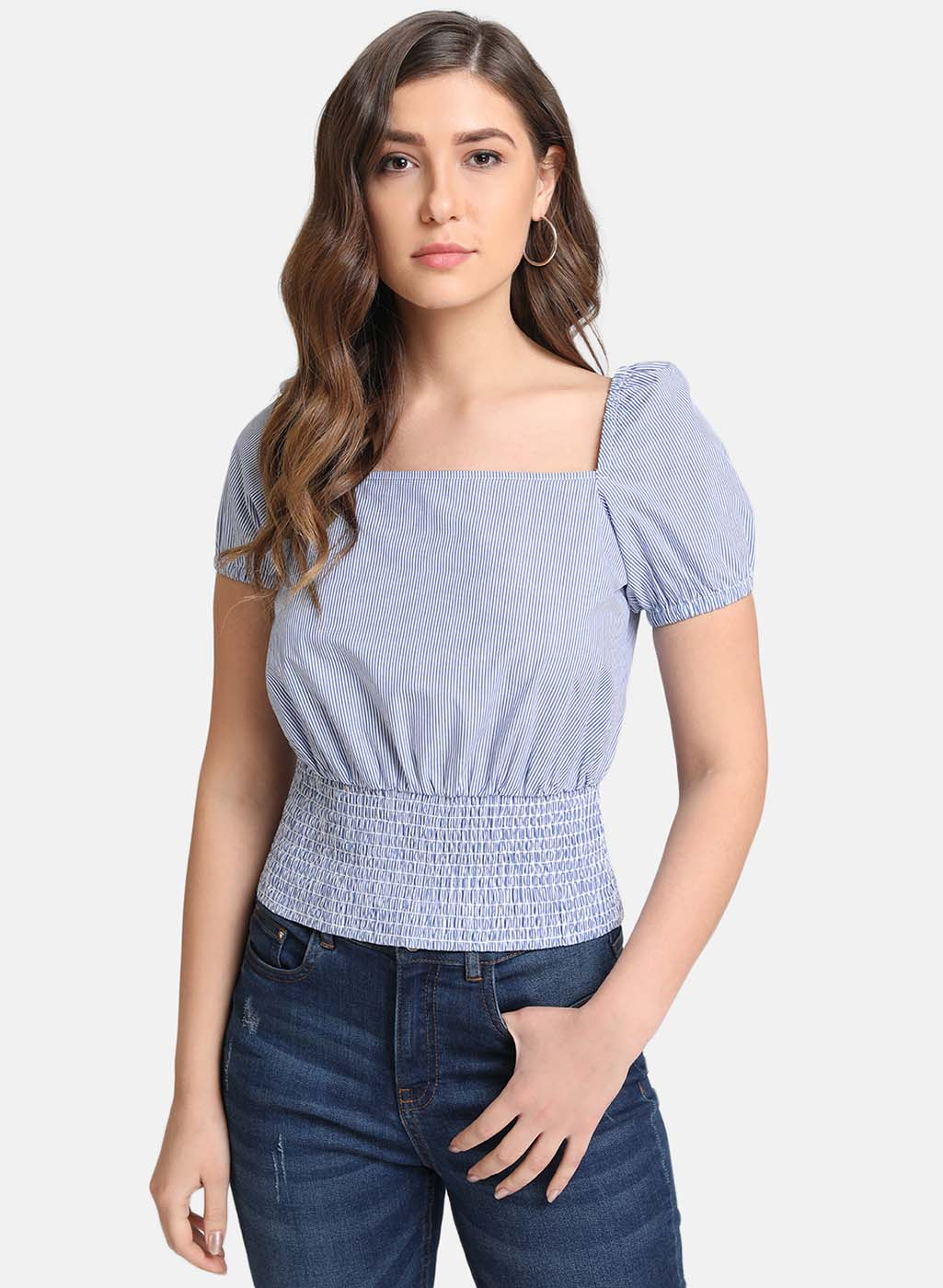 Square Neck Puffed Sleeves Smocked Top