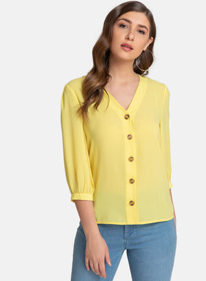 Button Down Shirt With Quarter Sleeve (Additional 23% OFF)