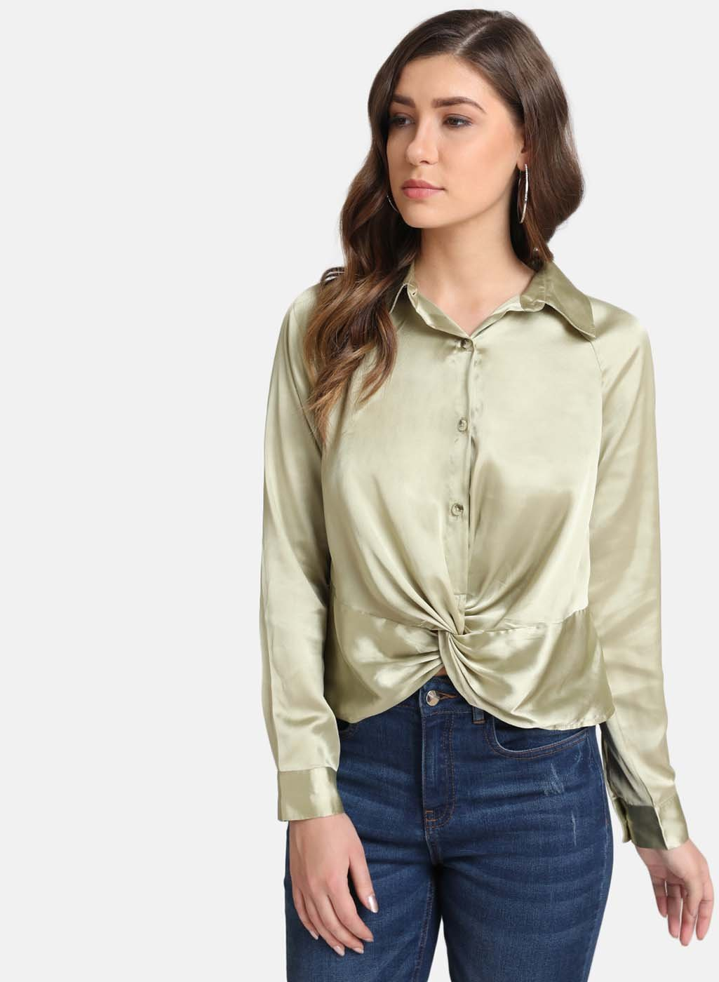 Satin Shirt With Front Twist (Additional 20% OFF)